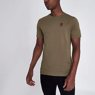 River Island Khaki rose chest embroidered slim fit T-shirt