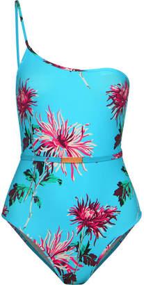 Diane von Furstenberg One-shoulder Belted Floral-print Swimsuit - Turquoise