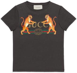 Gucci Children's logo T-shirt with tigers