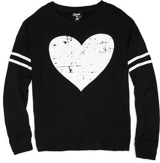 Flowers by Zoe Girls' French Terry Distressed Heart Sweatshirt