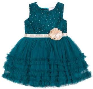 Little Lass Sleeveless Lace Top and Ruffle Tiered Special Occasion Holiday Dress (Baby Girls & Toddler Girls)