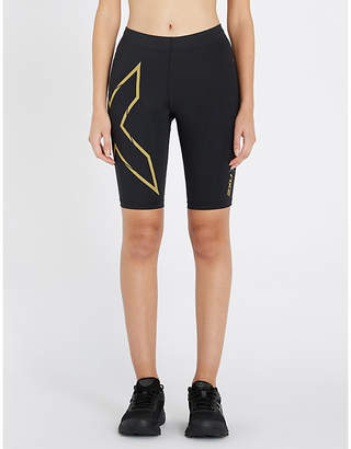 2XU Antibacterial Womens Black and Gold Mid-Rise Drawstring-Waist Stretch-Jersey Running Shorts