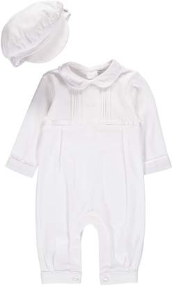 Carriage Boutique Cross Embroidered Christening Romper & Newsboy Cap Set