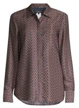 Lafayette 148 New York Scottie Diamond-Print Blouse