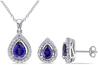 FINE JEWELRY Lab-Created Blue Sapphire Sterling Silver Set Silver Earrings and Pendant Necklace 2-Piece Set