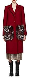 Fendi Women's Fur-Pocket Melton Coat-Red