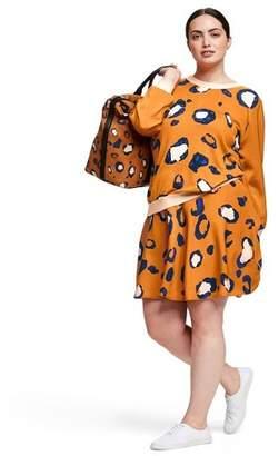 3.1 Phillip Lim for Target Women's Plus Size Leopard Print Long Sleeve Crewneck Pullover Sweater for Target Orange