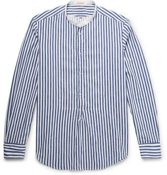 Massimo Alba Kos Grandad-Collar Striped Cotton-Jacquard Half-Placket Shirt