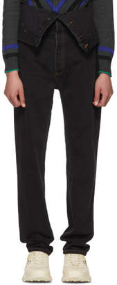 Y/Project Black Long Crotch Jeans
