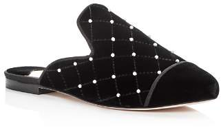 Isa Tapia Women's Charleen Embellished Quilted Velvet Mules