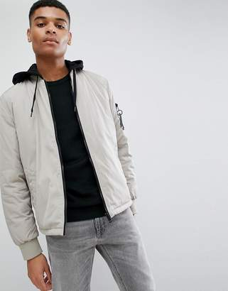 New Look Jersey Hooded Bomber Jacket