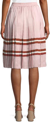 Endless Rose Pleated Satin Striped Midi Skirt