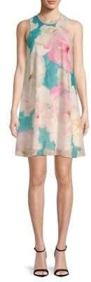 Calvin Klein Floral-Print Crewneck Mini Dress
