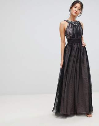 Little Mistress Spot Mesh Maxi Dress
