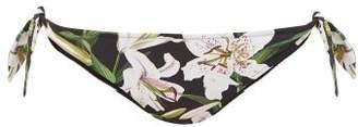 Dolce & Gabbana Lily Print Side Tie Bikini Briefs - Womens - Black Print
