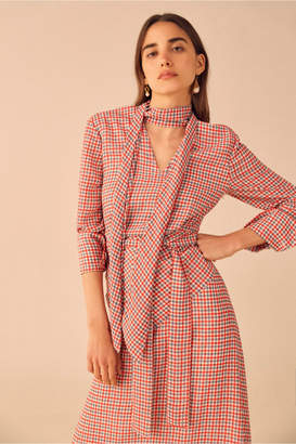 C/Meo Collective COUNTING ALL LONG SLEEVE MIDI DRESS cherry check