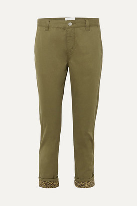 Current/Elliott The Confidant Cotton-blend Straight-leg Pants - Green
