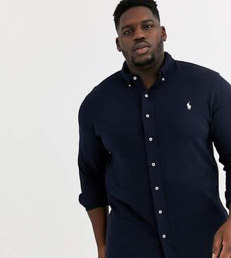 Polo Ralph Lauren Big & Tall icon logo button down pique shirt in aviator navy