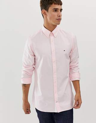 Tommy Hilfiger button down oxford shirt slim fit with pique flag logo in pink
