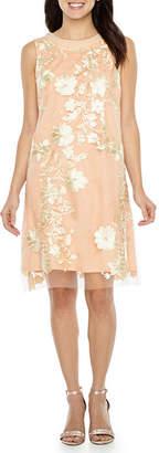 Studio 1 Sleeveless Embellished Floral Shift Dress
