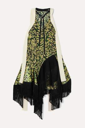 Thierry Mugler Fringed Printed Crepe And Silk-satin Midi Dress - Green
