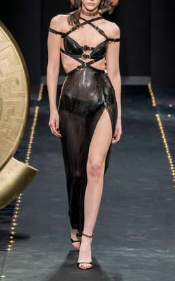 Versace Sequin Cutout Slit Dress