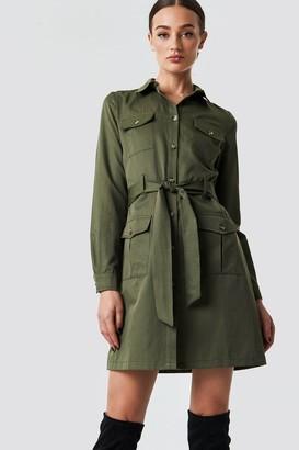 BEIGE Na Kd Trend Pocket Detail Shirt Dress