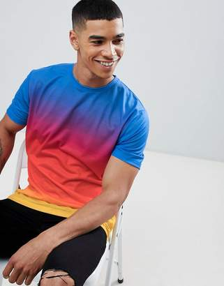 Asos DESIGN relaxed longline t-shirt with ombre dip dye wash