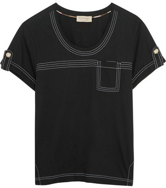 Burberry - Cotton-jersey T-shirt - Black $165 thestylecure.com
