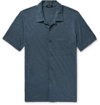 Theory Slim-Fit Camp-Collar Melange Slub Linen Shirt - Storm blue