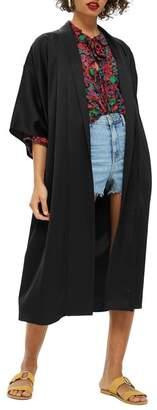 Topshop Longline Fringe Kimono