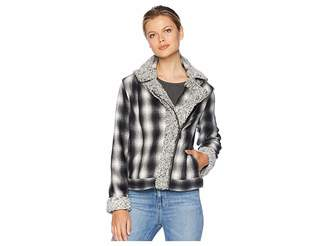 Vince Camuto Brushed Plaid Sherpa Trim Moto Jacket