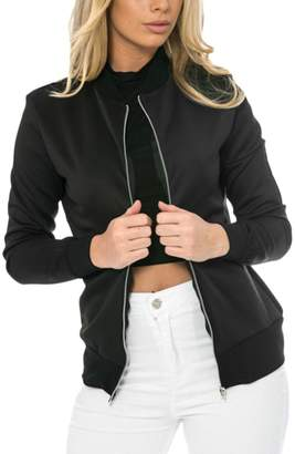 Nimpansa Womens Casual Stand Collar Long Sleeve Zip up Bomber Daily Jackets L