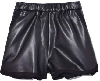 Sea Luxe Leather Running Short in Black