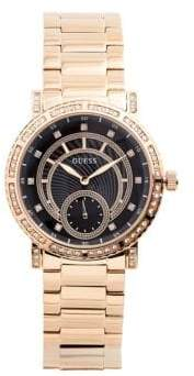 GUESS Analog Crystal Rose-Goldtone Stainless Steel Bracelet Watch