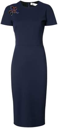 Victoria Beckham embroidered orchid dress