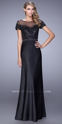 La Femme Sheer Illusion Off The Shoulder Evening Dress $478 thestylecure.com