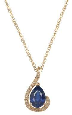Lord & Taylor Red Box Gallery 14K Yellow Gold Sapphire and Diamond Pendant Necklace