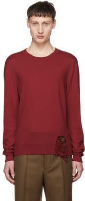 Maison Margiela Red Wool Distressed Crewneck Sweater