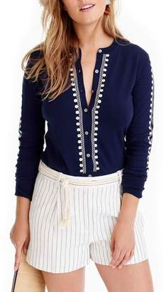 J.Crew Jackie Embroidered Eyelet Sweater