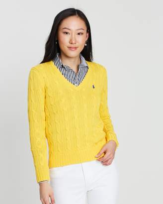 Polo Ralph Lauren Kimberly Cable Cotton Knit V-Neck Sweater