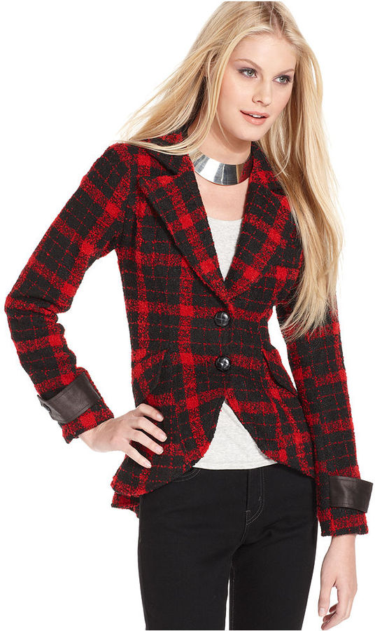 MM Couture Jacket, Long-Sleeve Plaid Faux-Leather Blazer