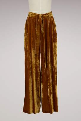 Roberto Collina Silk and Velvet Wide-Leg Pants