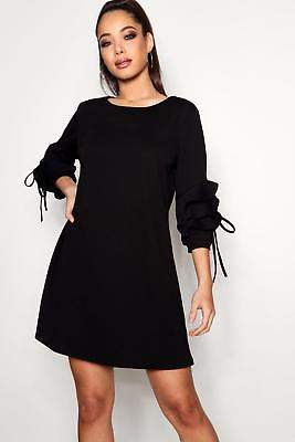 boohoo NEW Womens Tie Ruffle Sleeve Dress in Polyester 5% Elastane