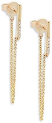 KC Designs Women's Diamond and 14K Yellow Gold Chain Earrings, 0.03 TCW