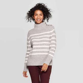 A New Day Women's Striped Mock Turtleneck Button Detail Sweater Gray