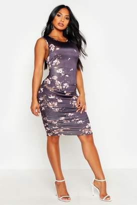 boohoo Printed Slinky Tank Ruched Midi Dress