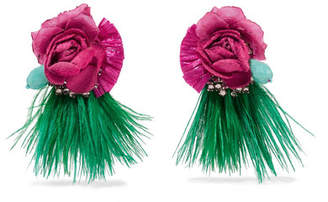 Ranjana Khan Tijuca Gold-tone, Feather, Raffia And Crystal Clip Earrings - Pink