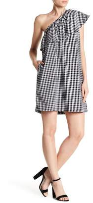 Space 46 One-Shoulder Gingham Ruffle Dress
