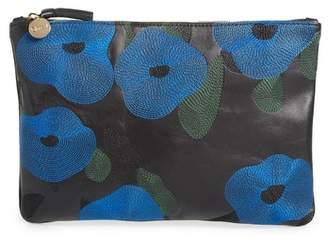 Clare Vivier Belle Embroidered Leather Flat Clutch
